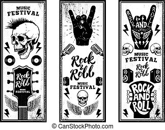 Rock and roll party flyers template. Vintage guitars, punk skull, rock and roll sign on grunge background. Vector illustration