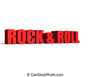 Rock and Roll red word on white background illustration 3D rendering