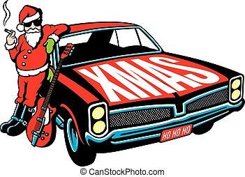 Rock and Roll Santa Claus vector design