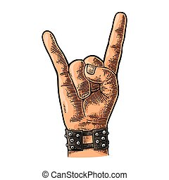 Rock and Roll sign. Vector black vintage engraved illustration.