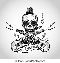 Rock and roll skull guitar . Hand drawing.