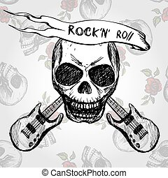 Rock and roll skull guitar . Hand drawing