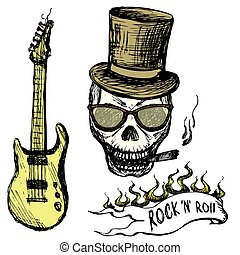 Rock and roll skull in hat and glasses ,guitar . Hand...