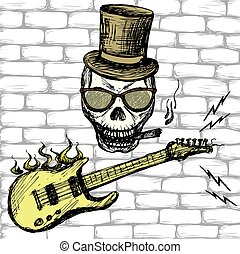 Rock and roll skull in hat and glasses ,guitar .