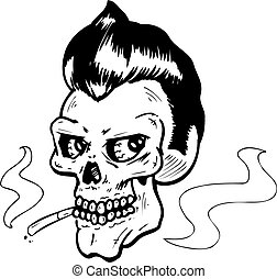Rock and Roll style skull vector illustration. Fully...