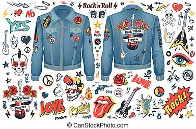 Rock and Roll Theme Icons Vector Illustration Set -...