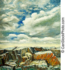 rocks and sky - a landscape painting