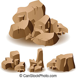 Rock and stone set - Illustration of different brown rocks...