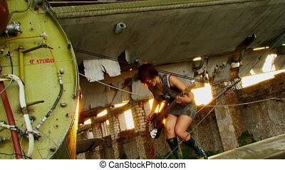 Rock at sunset - Beautiful girl emotionally plays guitar....