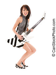 rock babe - picture of girl with electric guitar over white
