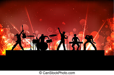 Rock Band - illustration of youth performing in rock band