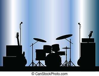 Rock Band Equipment - Silhouette of a rock bands equipment...