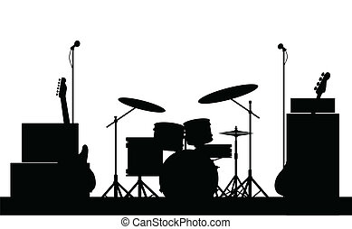 Rock Band Equipment Silhouette - Silhouette of a rock bands...