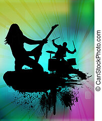 Rock band in abstract background