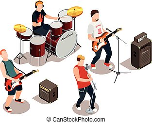 Rock Band Isometric Composition