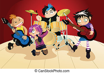 Rock band of four little kids - A vector illustration of...