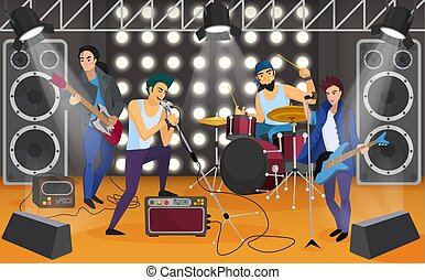 Rock band on the stage. Musical group cartoon vector illustration.