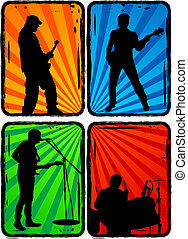rock band, part 3 - Music, Black silhouettes on a...