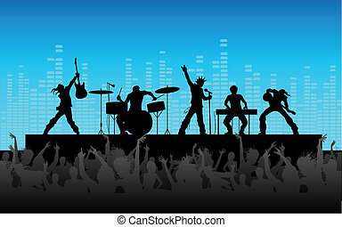 Rock Band Performance - illustration of people cheering rock...
