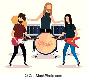 rock band playing instruments