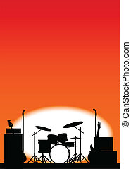 Rock Band Poster - Silhouette of a rock bands equipment on...