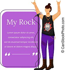 Rock band singer flat color vector illustration. Lead vocalist. Musician. Isolated cartoon character. Quote blank frame template. Rectangular purple speech bubble. Quotation, citation text box design.