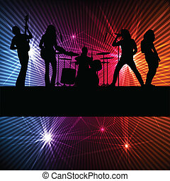 Rock band vector background with neon