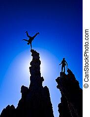 rock bergsbestigare, på, den, summit.