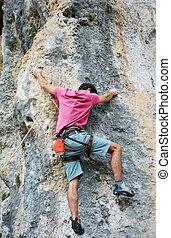 rock bergsbestigare, uppstigning uppe, a, klippa
