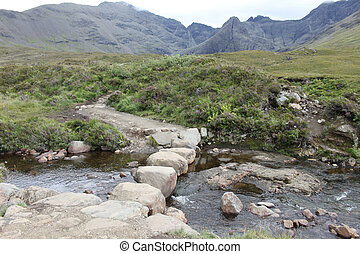 Rock Bridge across a stream at the Fairy Pools, Isle of Skye, Sc