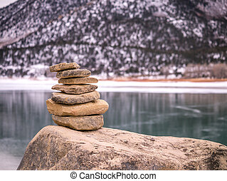 Rock Cairn in Winter with Snow