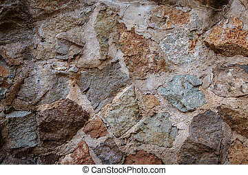 Rock cement wall - Close up shot of a rock and cement wall