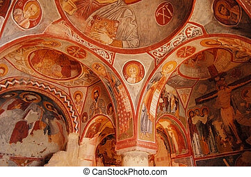 Cappadocia, Goreme, Turkey. Elmal%u0131 Kilise (or the Apple Church) a smaller cave church. Was built around 1050AD and has carved into four irregular pillars the sign of a Greek cross with these pillars support it's central dome.