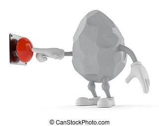 Rock character pushing button on white background
