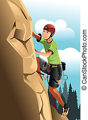 Rock climber - A vector illustration of a rock climber