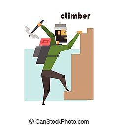 Rock Climber Abstract Figure