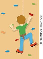 Rock climber boy