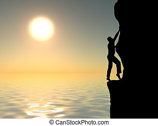 rock climber conquering a mountain on the background of sky ...