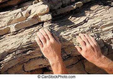 Rock climber, detail of hands