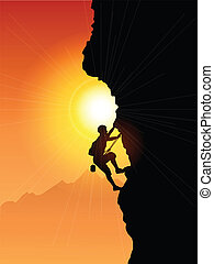 Rock Climber - Silhouette of a rock climber against a sunset...