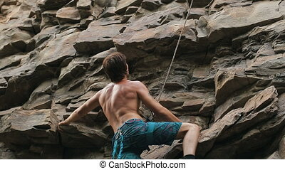 rock climber estimates mountain to climb - rock climber...