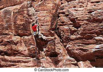 rock climber in red
