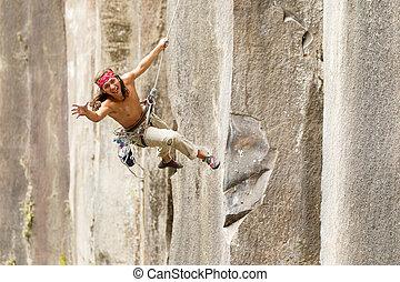 Rock Climber Jumping - Rock Climber Jump May Very Well...