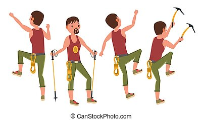 Rock Climber Man Vector. Bouldering Sport. Different Positions. Tourist Hiking, Resting. Extreme Hobby. Flat Cartoon Illustration