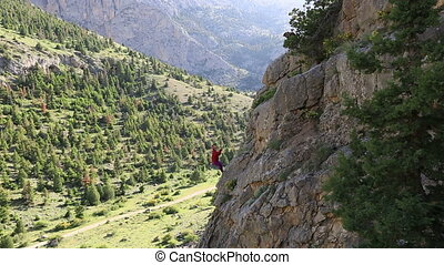 rock climber - female climber climbing mountain