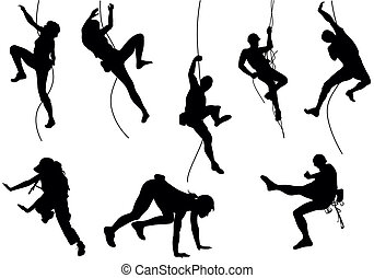 rock climber - Vector illustration of some silhouettes