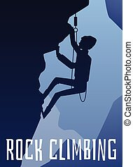 Rock climbing banner with climber at mountain background vector illustration.