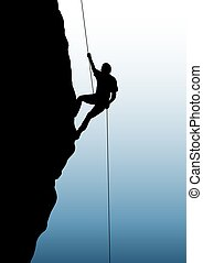 Rock climbing - Illustration of person rock climbing