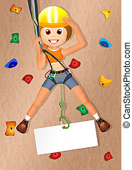 rock climbing - illustration of rock climbing