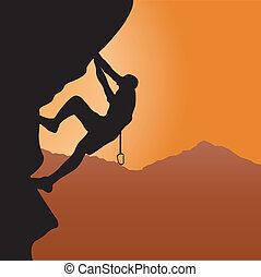 Rock climbing. Vector illustration for you design